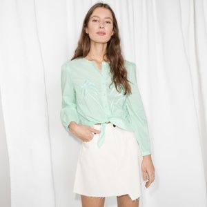 & Other Stories Embroidered Tie Front Top 4